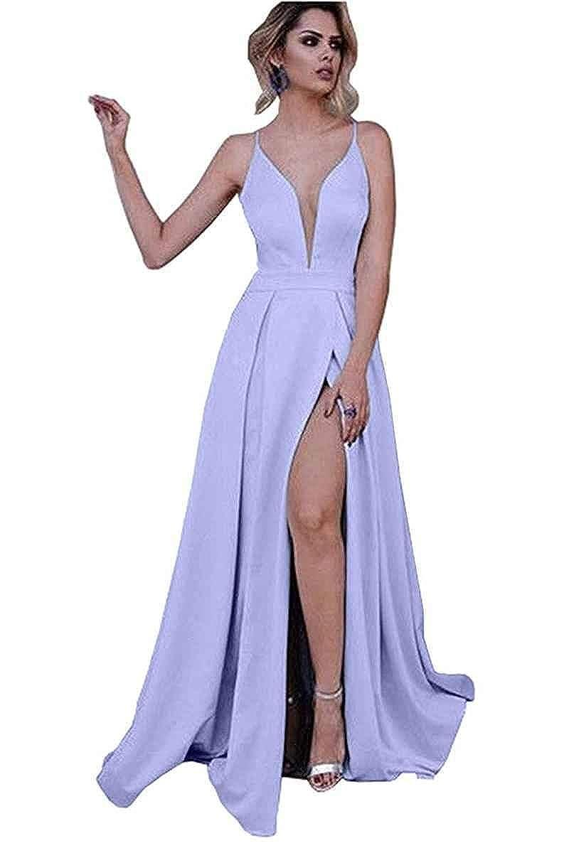 Lavender Sophie Women's Deep V Neck Spaghetti Straps High Slit Prom Dresses Long Satin Formal Party Evening Gowns S124