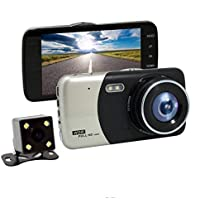 YELLYOUTH 4inch HD Car DVR Vehicles Dash Cam LCD screen Dual Lens Vehicles Front & Rearview Mirror Car Video Recorder Full HD Vehicle Video Camera Auto Video Recorder