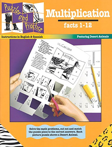 Multiplication: Factors 1-12, Featuring Desert Animals (Puzzles and Practice Series) (English and Spanish (Multiplication Math Puzzles)