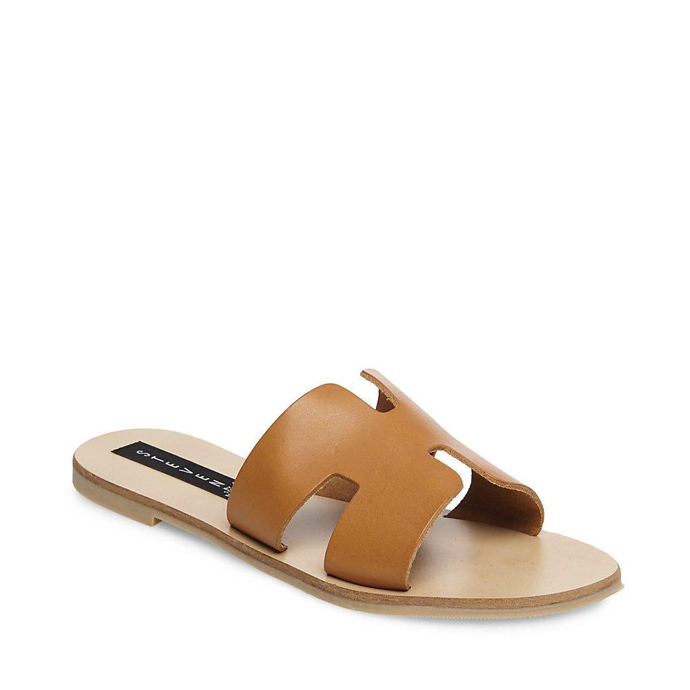 STEVEN by Steve Madden Women's Greece Flat Sandal, Cognac Leather, 7.5 M US