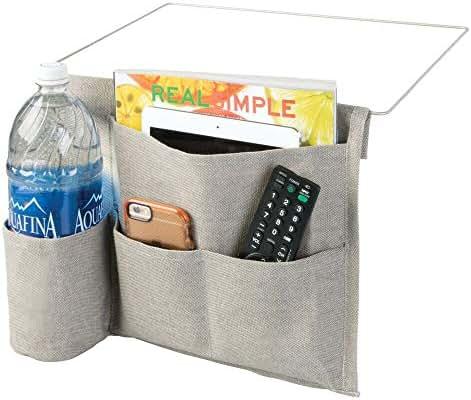 mDesign Bedside Storage Organizer Caddy - Slim Space Saving Design, 4 Pockets - Heavy Weight Cotton Canvas - Holds Water Bottles, Books, Magazines - Light Gray/Wire Insert in Satin