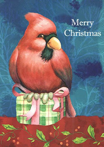 - Traditional Christmas Cards ~ Set of 16 Cards and Envelopes (Merry Christmas - Cardinal on Gift)