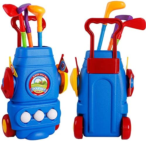 プラスチックゴルフクラブのおもちゃ キッズゴルフクラブセットゴルフカート付きゴルフカート、3つのカラフルなゴルフスティック、男の子&女の子用キット物理的&精神的発達を促進する3ボール&2練習用穴楽しい若いゴルファースポーツ玩具 子供用 (Color : As picture, Size : 26*15*42cm)