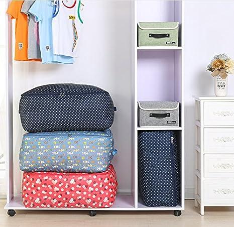 Bolsa de almacenamiento para debajo de la cama 55*35*20cm almohadas bolsa de almacenamiento para ropa edredones cortinas bolsa de almacenamiento de gran capacidad Milnut Oxford ropa de cama azul