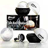 Image of Elegant Round Ice Cube Mold - Sphere Ice Ball Maker - Creates Large 2.5 Inch Ice Balls - Ideal Gift for Whiskey and Cocktail Lovers - Set of 2 Silicone Trays