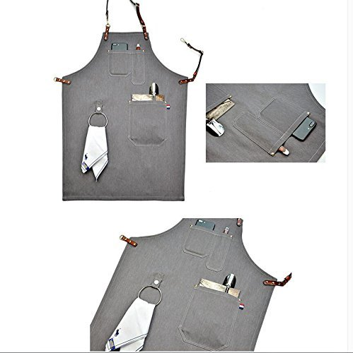 Heavy Duty Gray Waxed Canvas Work Apron With Pockets For Man (31 by 23.62inch) by Luchuan (Image #1)
