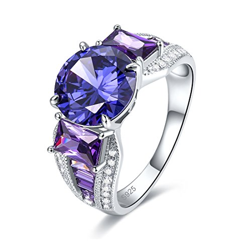 Square Shaped Marcasite Ring - Merthus 925 Sterling Silver Synthetic Tanzanite & Amethyst Engagement Ring for Women