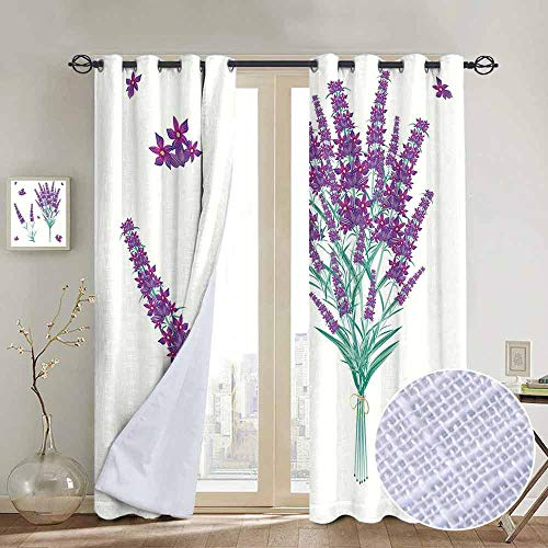 NUOMANAN Bedroom Curtain Lavender,Aromatic Blossoms Bouquet from Provence France Fragrant Herbal Flora Print,Purple Sea Green,Insulating Room Darkening Blackout Drapes 54