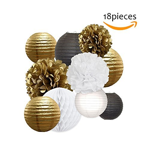 Tissue Paper Flowers Pom Poms Decorations - Bright Colorful Large Rainbow Craft Assorted Bulk Kit Hanging Wall for Big Wedding\ Birthday Party Decor (Gold Pack)
