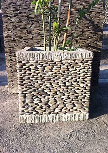 wanda collection Pot bac jardinière carré Cube Galet 50cm ...