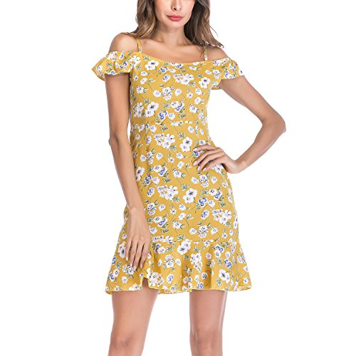 (Meland Women's Floral Spaghetti Strap Cold Shoulder Wrap Dress Fit and Flare)