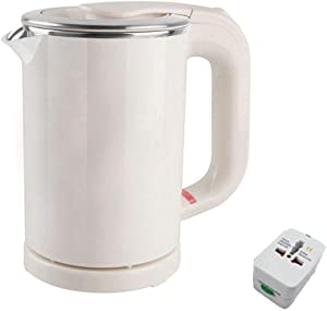 Dual Voltage Electric Kettle 0.5-Liter Travel MINI Electric Kettle Cup Heater Portable Stainless Steel Tea Pot Boiler (White)