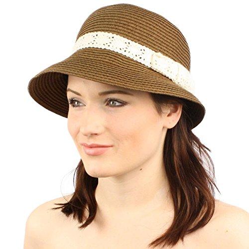 Summer Derby Flapper Crochet Bow Hatband Cloche Bucket Bell Church Hat Cap Brown (Bell Bucket Hat)