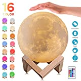 3D Moon Lamp - 16 Colors LED Night Light, Touch