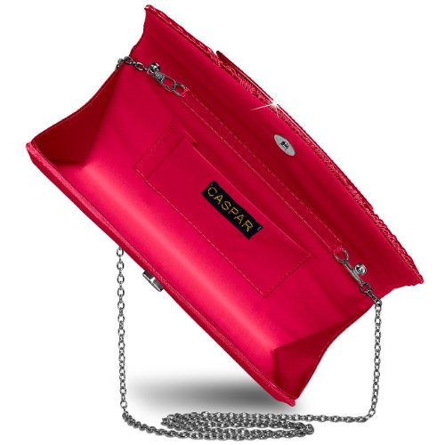 Strass Satin Ta289 Red Clutch Handbag Womens Pied Caspar Shiny With 7OwSq