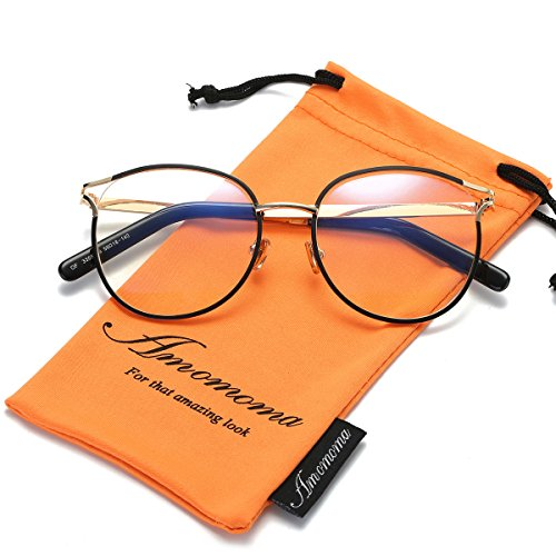 Amomoma Retro Round Women Eyeglasses Eyewear Optical Frame Clear Glasses AM5005 With Black Frame/Gold - Round Frames Face Eyeglass For