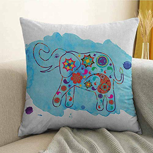- FreeKite Elephant Printed Custom Pillowcase Asian Thailand Elephant Colored in Paisleys Aqua Background Watercolor Nature Decorative Sofa Hug Pillowcase W18 x L18 Inch Multicolor