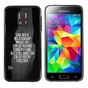 TopCaseStore / la caja del caucho duro de la cubierta de protección de la piel - Together White Quote - Samsung Galaxy S5 Mini, SM-G800, NOT S5 REGULAR!