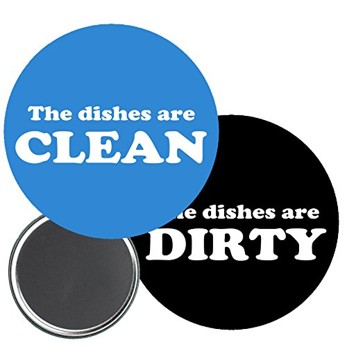 """Price comparison product image 2 Pcs Clean Dirty Dishwasher ReferencesPinback Button 2.25"""" Magnet"""