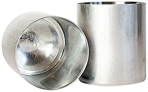 Seamless Candle Molds - Candlewic 2Pk of 3 X 3.5 Inch Round Aluminum One Piece Candle Molds