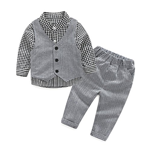 Tem Doger Baby Boys Plaid Button Down Casual Dress Shirt Slim Fit +Vest+Pant Outfits (70/3-6 Months, Grey) Dress Vest Pants