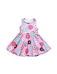 Kehen Doughnuts Print Costume Sleeveless Dress for Toddler Baby Kids Girl Dress in Pink Summer Dresses