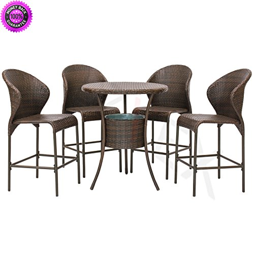 DzVeX Outdoor Patio Furniture 5-Piece Wicker Bistro Bar Table Set W/Ice Bucket And patio furniture home depot patio furniture clearance sale patio furniture sets patio furniture lowes discount (Bar For Benches Sale)