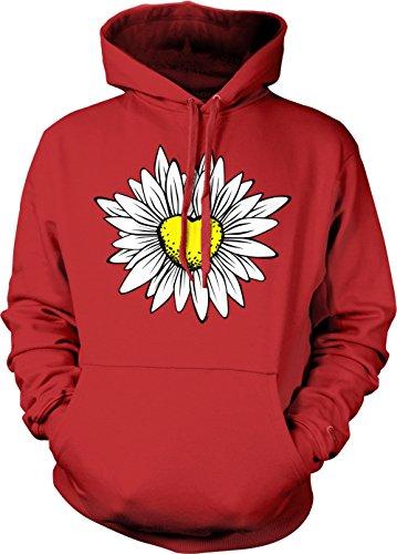 Tcombo Daisy/Sunflower Heart Adult Hoodie Sweatshirt (Red, XX-Large)