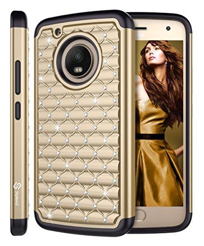 Moto G5 Plus Case, Moto X 2017 Case, Style4U [Shockproof] Studded Rhinestone Crystal Bling Hybrid Armor Protective Case Cover for Motorola Moto G5 Plus/Moto X 2017 with 1 Style4U Stylus [Gold/Black]