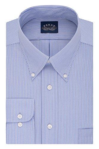 Shirt Dress Stripe (Eagle Men's Non Iron Stretch Collar Big Stripe Buttondown Collar Dress Shirt,Periwinkle,20