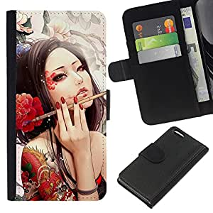 KingStore / Leather Etui en cuir / Apple Iphone 5C / Sexy Japanese Tattoo Geisha Chica