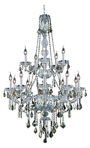 (Elegant Lighting 7815G33C-Gt/Ss Swarovski Elements Smoky Golden Teak Crystal Verona 15-Light, Two-Tier Crystal Chandelier, Finished in Chrome with Smoky Golden Teak Crystals)