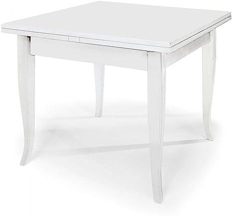 Tavolo Bianco 80x80 Allungabile.Spazio Casa Tavolo Quadrato Bianco 80x80 Allungabile Con Piede A