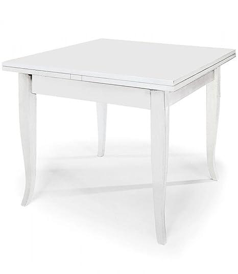 Tavolo Quadrato Bianco Allungabile.Spazio Casa Tavolo Quadrato Bianco 80x80 Allungabile Con Piede A