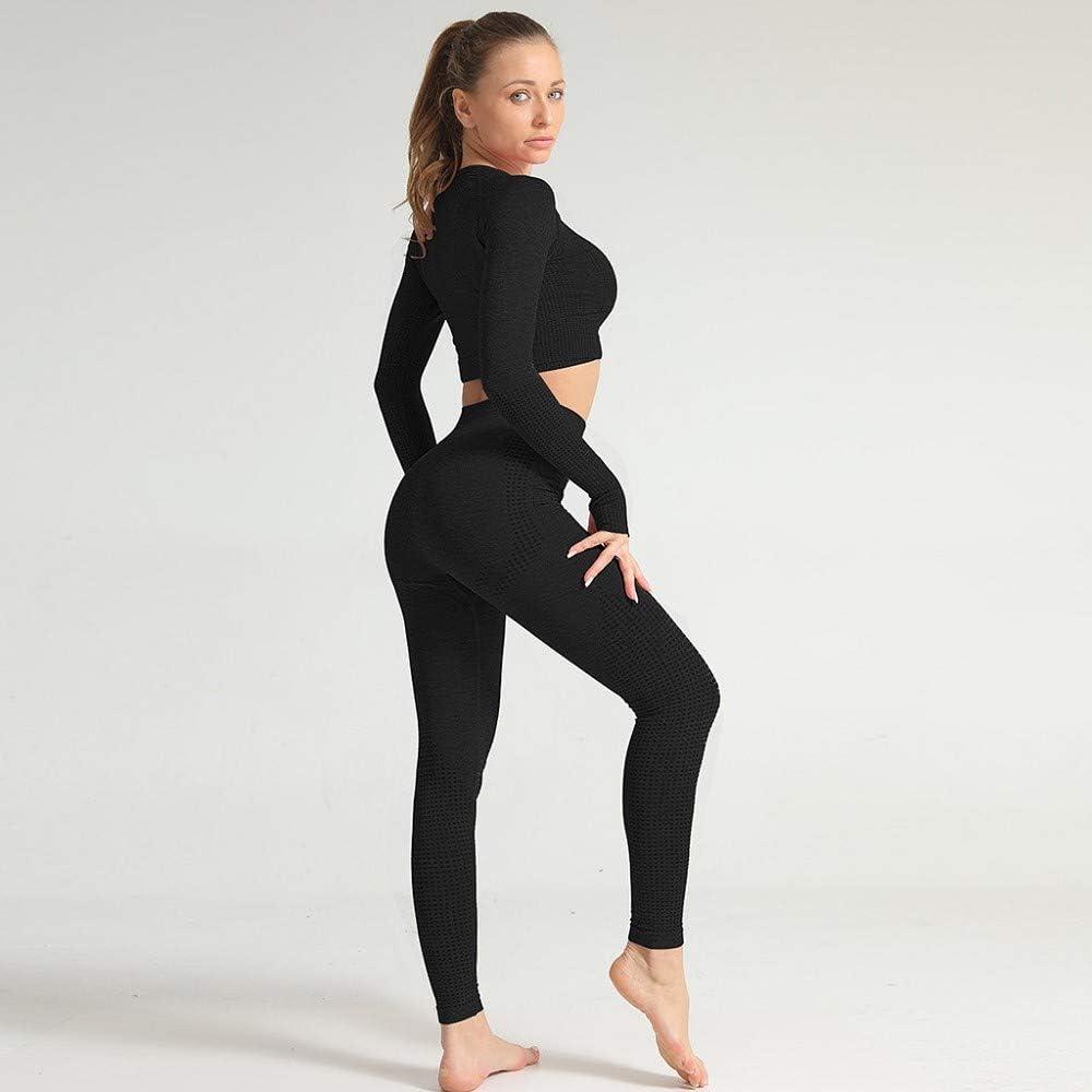 Damen Trainingsanzug Sport Anzug Jogginganzug Sportanzug Zweiteilige Sportswear Set Hohe Taille Freizeitanzug Outwear Fitnessanzug Fitness Yoga Sportkleidung S-L