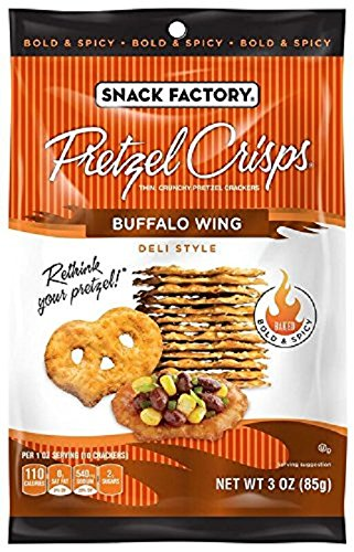 Snack Factory Pretzel Crisps, Buffalo Wing, 3 Ounce (Pack of 8)