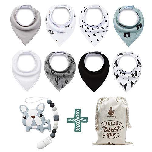 BabyBandana DroolBibs by MiiYoung + BPA Free Silicone Teethers with Pacifier Clip + Reusable Gift Bag, Pack of 8 Premium Quality for Boys or Girls, Excellent Baby Shower Registry Gift