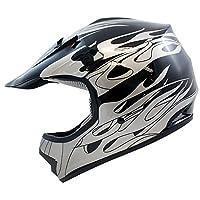 TMS Youth Kids Black Flame Dirtbike Off-Road ATV Motocross Helmet MX+Goggles/Gloves (Medium) by T-Motorsports