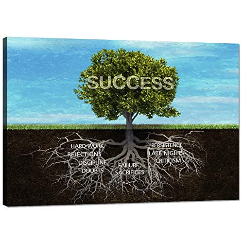 Yatsen Bridge Success Tree Canvas Print Wall Art Modern Roots Inspirational Entrepreneur Pop Motivational Decorative Posters Stretched Ready to Hang for Classroom Bedroom Office Decor - 24''Hx36''W