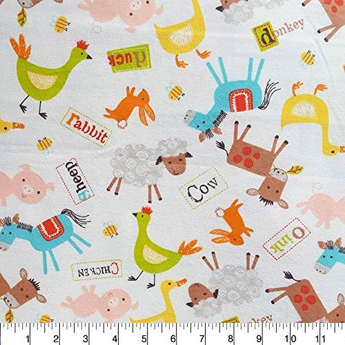 Flannel Farm Animal Toss Fabric - Snuggle Flannel