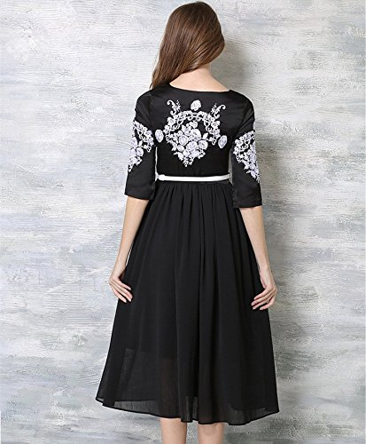 Bobbycool Sleeve Chiffon Pleated Dress Embroidery Black Points Seven Long Big Holiday 1PpqUr1w
