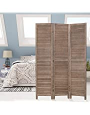 Room Divider Screen Home Office Bedroom Wooden partition and Privacy Screen, 3-Panel Wood mesh Woven Design, Foldable and Portable, Brown