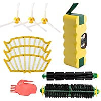 efluky 3500mAh Ni-MH Replacement Roomba Battery + Replacement Accessory Part Kit for iRobot Roomba 500 Series 500 510 520 530 531 535 536 540 545 550 551 552 560 561 570 580 595 - a set of 10