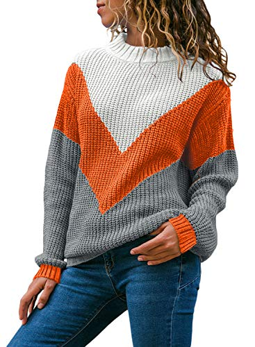 Women Round Neck- Color Block Fall Colors