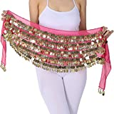 ZLTdream Belly Dance Hip Scarf With Film Gong & Coins Chiffon Rose