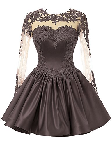 Long Lace Prom Applique Gowns Party Dresses Gray Short Formal Sleeves Cdress EpqUCC