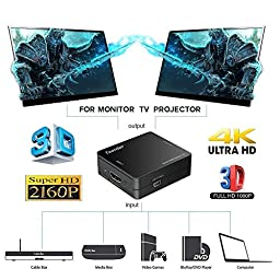 Teorder HDMI Splitter 4k 1 in 2 out,Dual 4k Hdmi Signal Splitter ,HDMI to HDMI Adapter, Powered HDMI Amplifier, V1.4 Certified HDMI Switch Box - Support Ultra HD 3840x2160/30Hz, 3D / HDCP V1.4