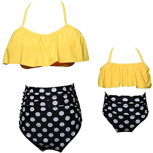 KABETY Girls Swimsuit Two Pieces Bikini Set Ruffle Falbala Swimwear Bathing Suits (Yellow, Mom L)