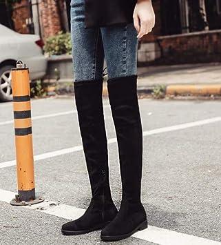 Shukun Botines Sobre la Rodilla Botas largas Mujer otoño e Invierno Botas de Tela elásticas con Fondo Plano Fueron Zapatos de Moda de Tubo Alto y Gris: ...