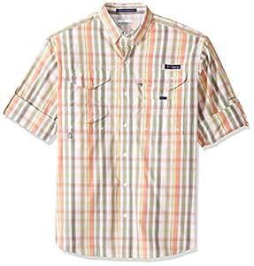 Columbia Men's Super Bonehead Classic Long Sleeve Shirt, Bright Peach Multi Gingham, X-Small